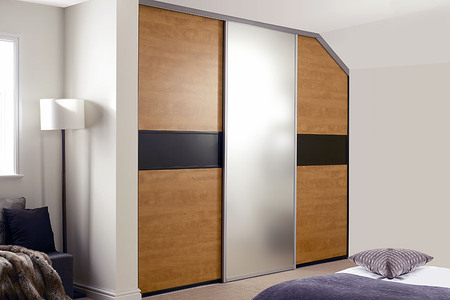 Black and French Walnut sliding wardrobe doors