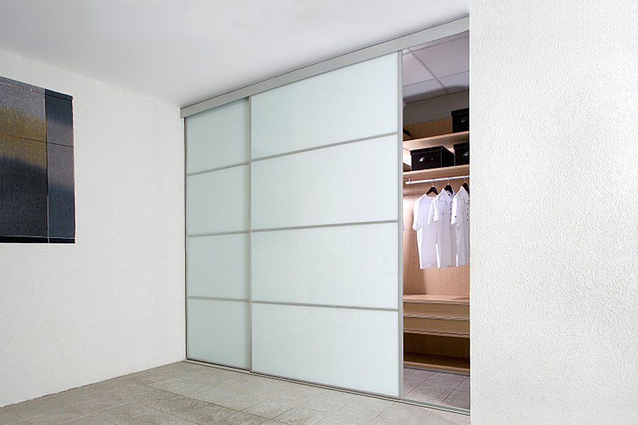 Sliding Wardrobe Doors in White Gloss White Glass and White Matte