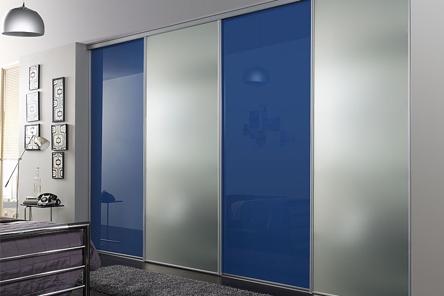 Mirror blue sliding doors